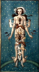 Le Calendrier des Bergers. Zodiac man; man with zodiac symbol attached to different parts of his body