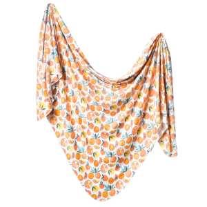 Copper Pearl Citrus Knit Swaddle Blanket
