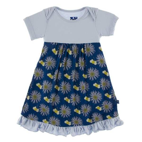 KicKee Navy Cornflower Flowers Classic Short Sleeve Swing Dress