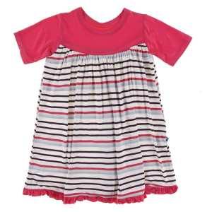 KicKee Chemistry Stripe Classic Short Sleeve Swing Dress