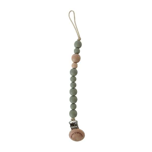 Chewable Charm Classic Pacifier Clip - Wood and Succulent