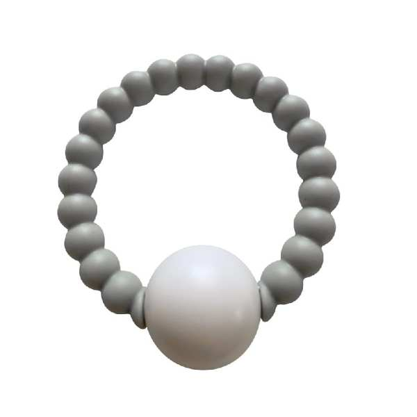 Chewable Charm Teether Toy Rattle Grey