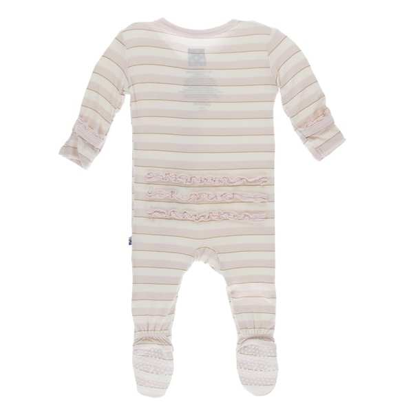 KicKee Everyday Heroes Sweet Stripe Muffin Ruffle Footie with Zipper