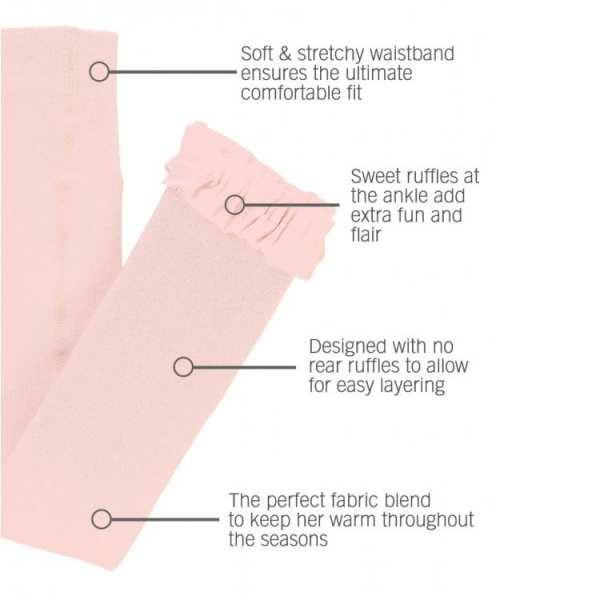 RuffleButts Ballet Pink Footless Ruffle Tights