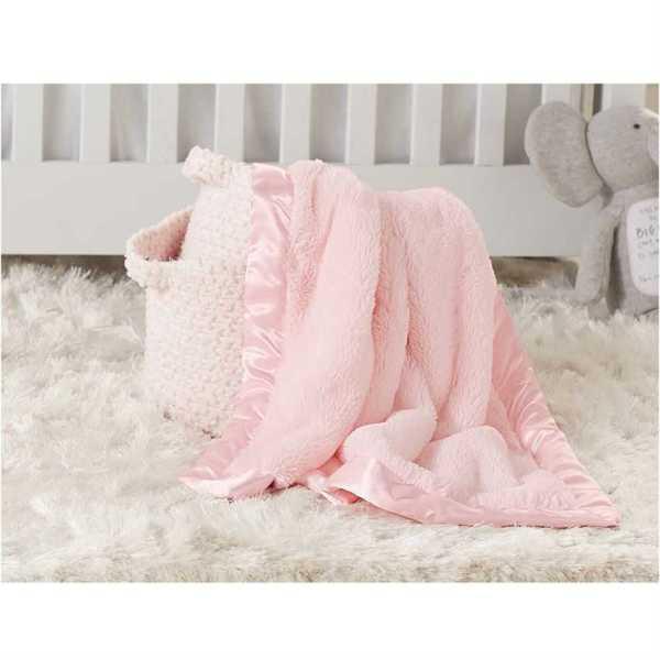 Mud Pie Pink Satin Trim Blanket