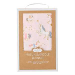 Mud Pie Unicorn Muslin Swaddle Blanket