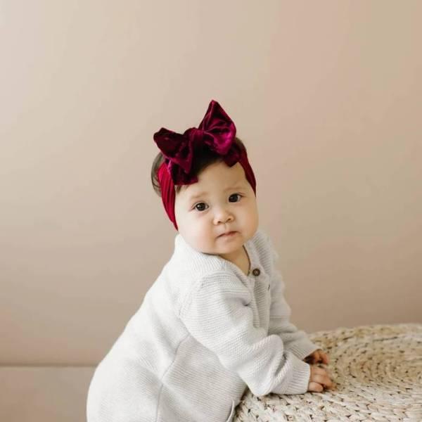 Baby Bling Fab-Bow-Lous VELVET - Crushed Ruby