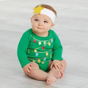 Mud Pie Christmas Tree Photography Crawler & Headband Set