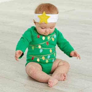 Mud Pie Christmas Tree Photography Crawler & Headband Set