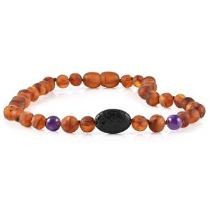 RB Amber Jewelry Baltic Amber Aromatherapy Necklace Cognac Amethyst Lava Pendant
