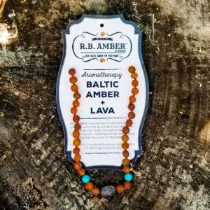 RB Amber Jewelry Baltic Amber Aromatherapy Necklace Cognac Turquoise Lava Pendant 10-11 Inch