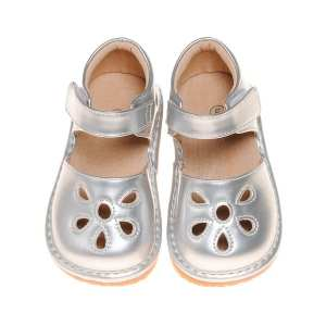 Squeaky Leather Shoes - Silver Flower