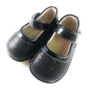 Squeaky Shoes - Black Sparkle Leather