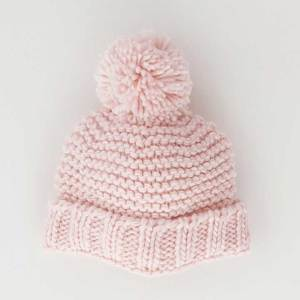 Blush Pink Garter Stitch Beanie Hat