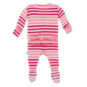 KicKee Forest Fruit Stripe Classic Ruffle Footie with Zipper