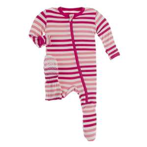 KicKee Forest Fruit Stripe Footie with Zipper