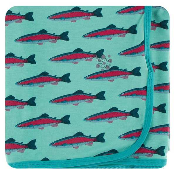 KicKee Pants Glass Rainbow Trout Swaddle Blanket
