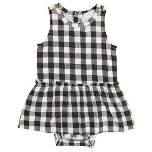 Angel Dear Gingham Black Bodysuit with Skirt
