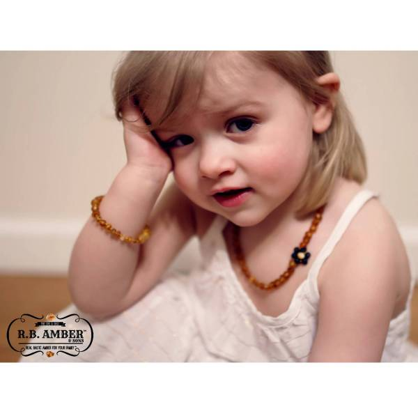 """Baltic Amber Aromatherapy Necklace """"Grow With Me"""" Baby to Toddler - Cognac Turquoise"""