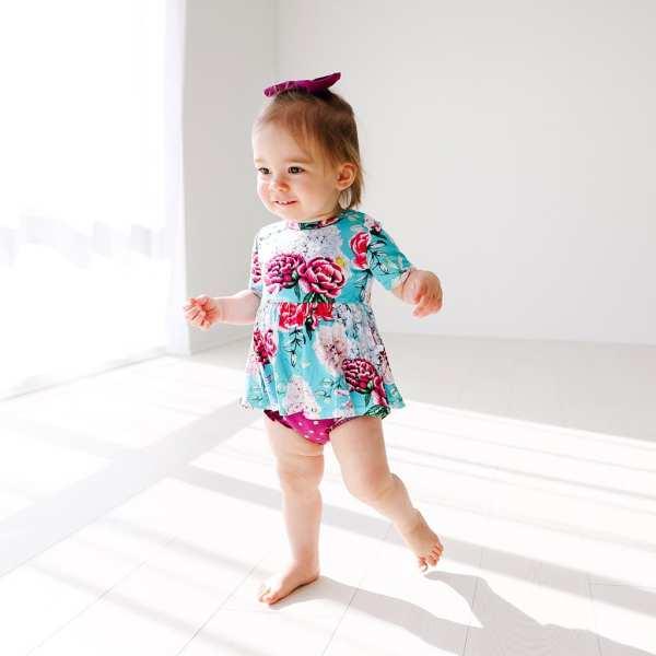 Posh Peanut Eloise Short Sleeve Basic Peplum Top & Ruffled Bummies Set