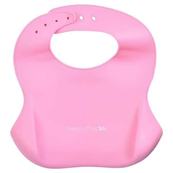 Three Little Tots Silicone Bib with Crumb Catcher - Rose Pink