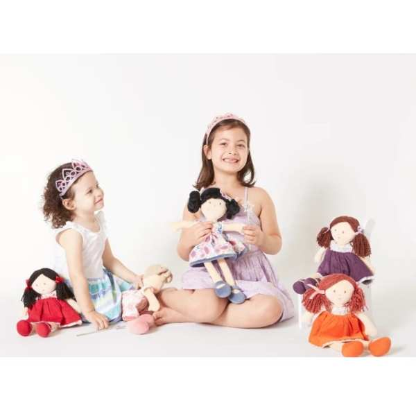 Tikiri Toys Lilac Black Hair with Blue Floral Dress