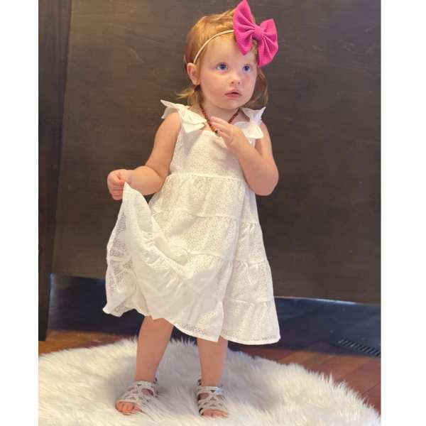Doe a Dear White Dotted Tier Dress