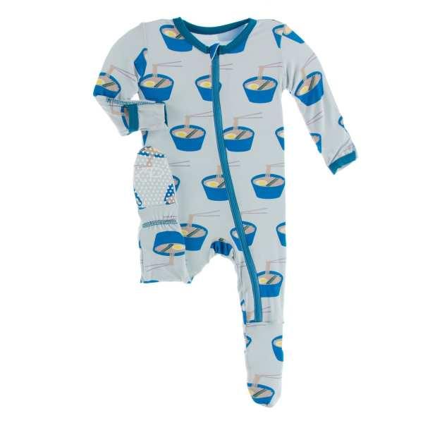 KicKee Pants Illusion Blue Ramen Footie with Zipper