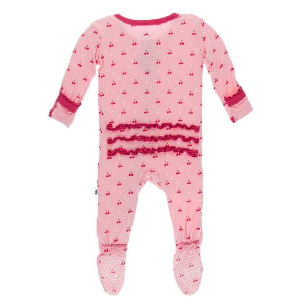 KicKee Pants Lotus Cherries and Blossoms Muffin Ruffle Footie with Zipper