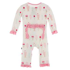KicKee Pants Natural Ice Cream Shop Classic Ruffle Coverall with Snaps