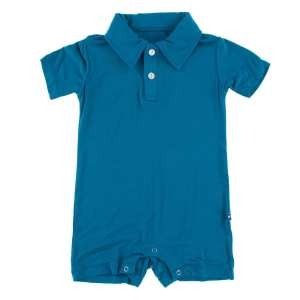 KicKee Pants Seaport Solid Polo Short Sleeve Romper
