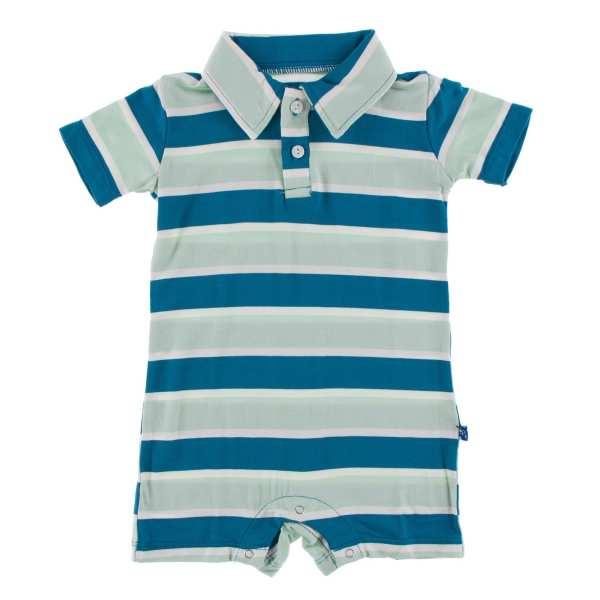 KicKee Pants Seaside Cafe Stripe Polo Short Sleeve Romper