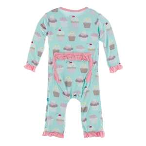 KicKee Pants Summer Sky Cupcakes Classic Ruffle Coverall with Snaps