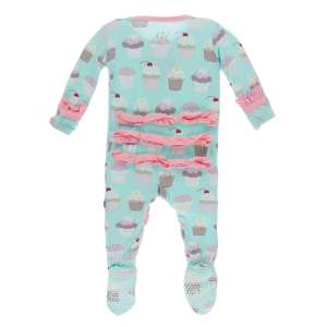 KicKee Pants Summer Sky Cupcakes Classic Ruffle Footie with Zipper
