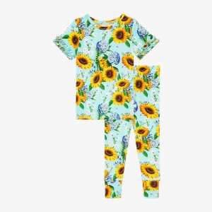 Posh Peanut Sunny Basic Short Sleeve Micro Ruffled Shirt and Long Pants