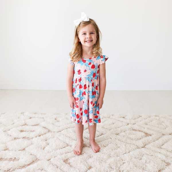 Posh Peanut Strawberry Ruffled Cap Sleeve Basic Twirl Dress