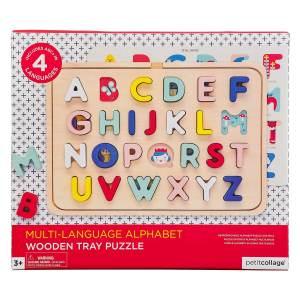 Wooden Tray Puzzle Multi-Language Alphabet