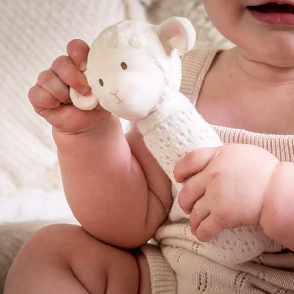 Tikiri Toys Bahbah the Lamb Baby Squeaker w/ Natural Rubber Teether Head