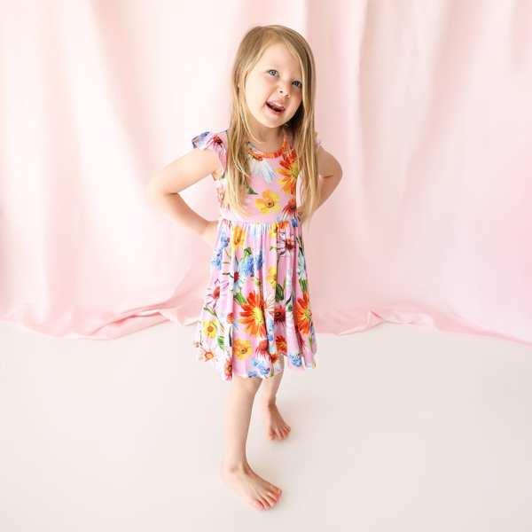 Posh Peanut Kaileigh Ruffled Cap Sleeve Basic Twirl Dress
