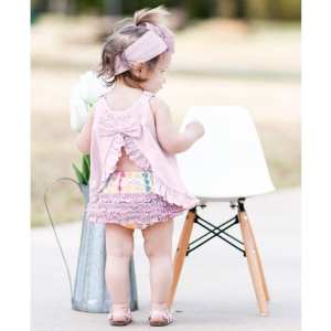 RuffleButts Soft Lilac Knit Ruffle Swing Top