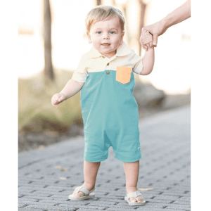 RuggedButts Marine Blue Color Block Polo Romper