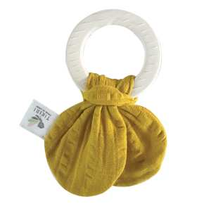 Natural Rubber Teething Ring with Mustard Yellow Muslin Tie