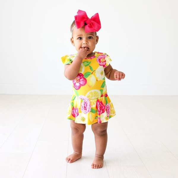 Posh Peanut Annika Ruffled Cap Sleeve with Basic Twirl Skirt Bodysuit1
