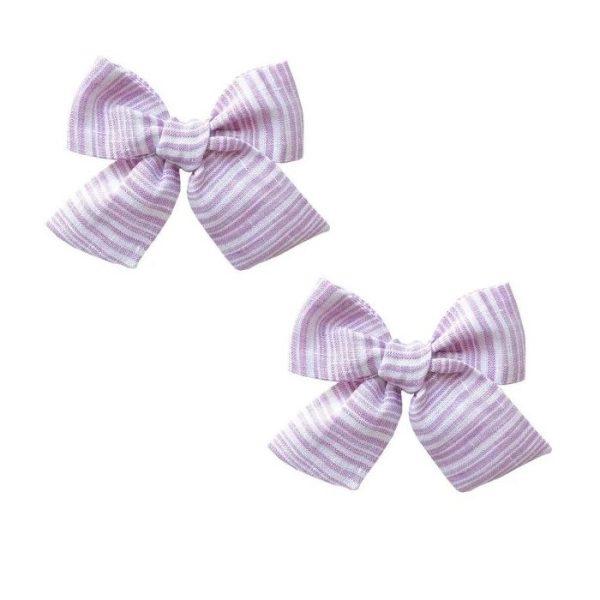 Baby Bling Big Cotton Bow Clip Set - Wisteria Linen Stripe