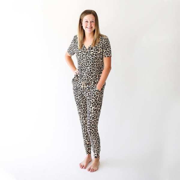 Posh Peanut Lana Leopard Tan Women's Short Sleeve Loungewear