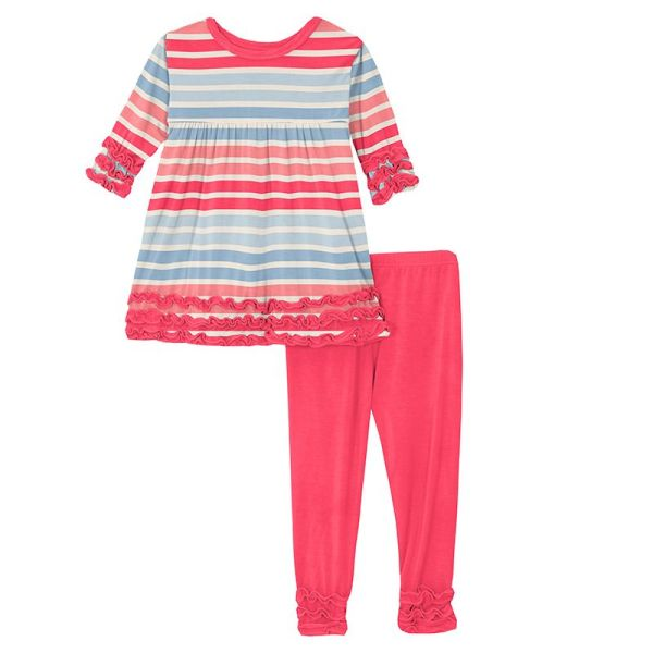 KicKee Pants Cotton Candy Stripe Long Sleeve Babydoll Outfit Set