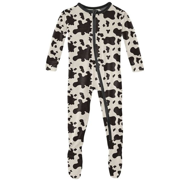 KicKee Pants Cow Print Classic Footie with Zipper