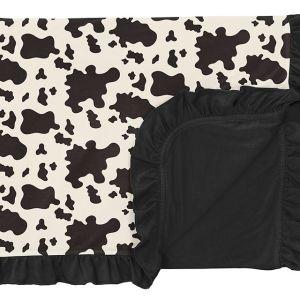 KicKee Pants Cow Print Ruffle Toddler Blanket