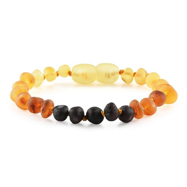 """Baltic Amber Bracelet or Anklet - Raw Rainbow 6-7"""""""
