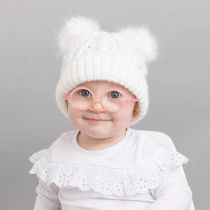 Huggalugs White Fluffer Pom Pom Hat